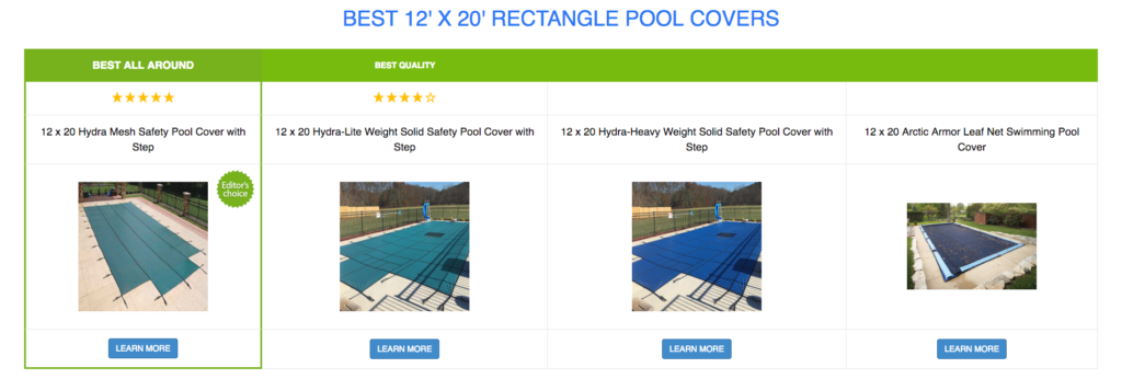 12 x 20 Rectangle Pool Covers