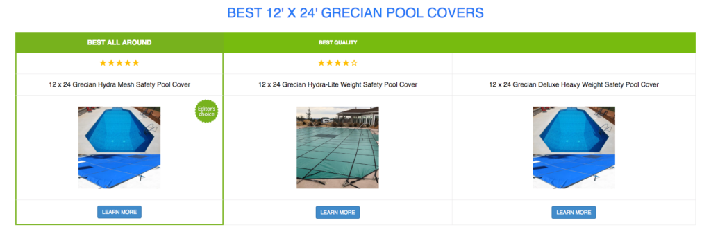 12 x 24 Grecian Pool Covers