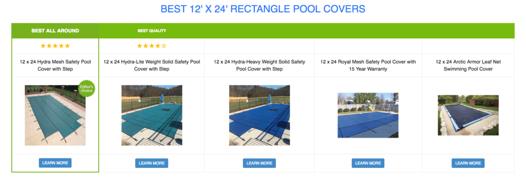 12 x 24 Rectangle Pool Covers