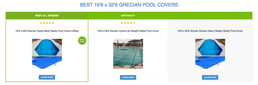 16'6 x 32'6 Grecian Pool Covers