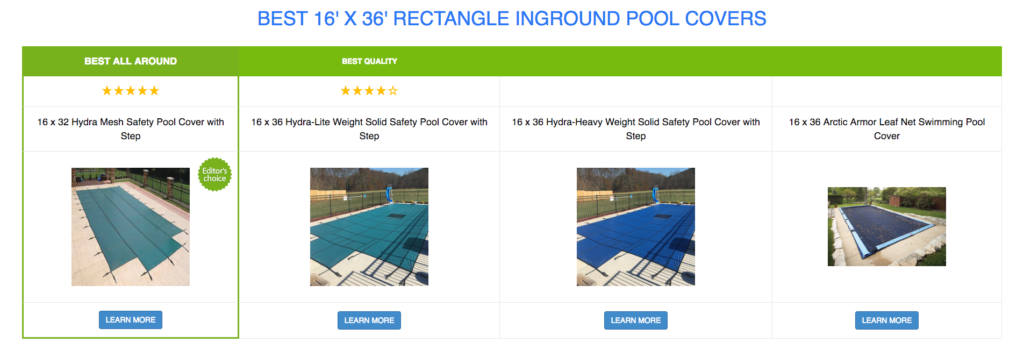 16 x 36 Rectangle Pool Covers