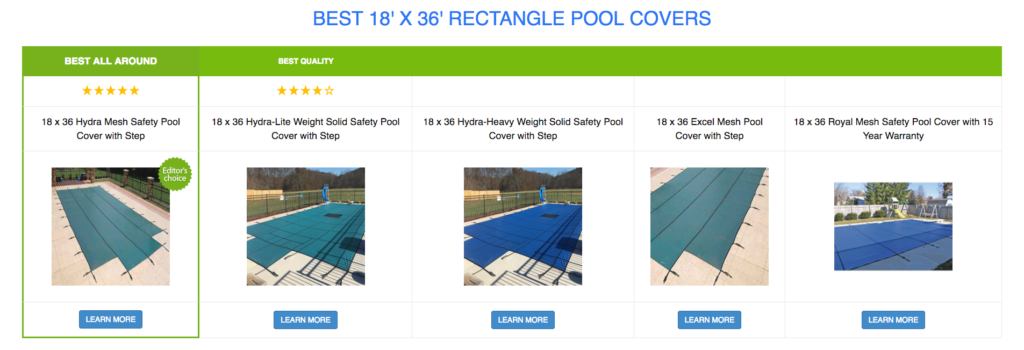18 x 36 Rectangle Pool Covers