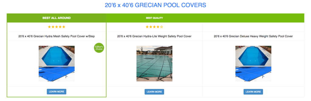 20'6 x 40'6 Grecian Pool Covers