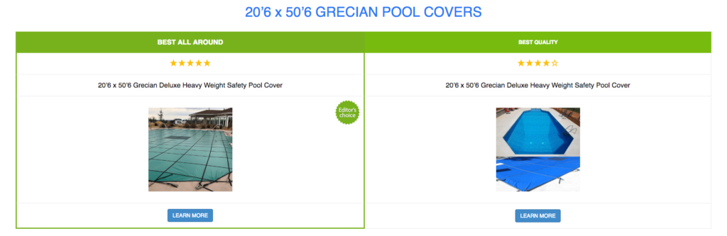 20'6 x 50'6 Grecian Pool Covers