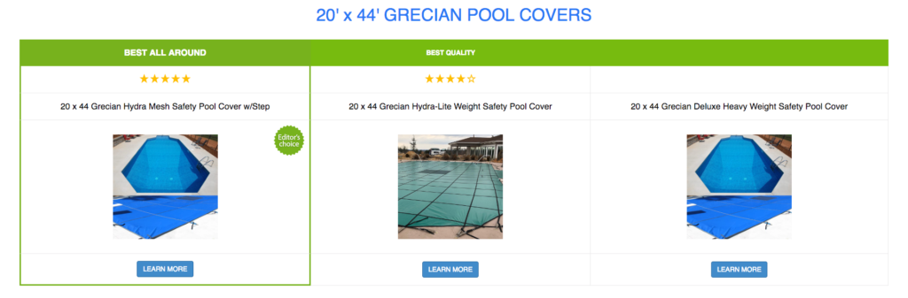 20 x 44 Grecian Pool Covers